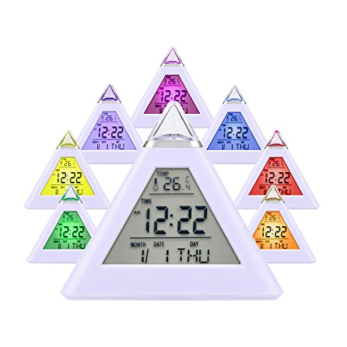 Price comparison product image HAMSWAN Simple Digital Alarm Clock,  Desk Bedside Clocks 7 LED Color Change Pyramid with Temperature,  Alarm and Sleeping Function for Kids