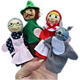 ACTLATI 4PCS/Set Finger Puppets Little Red Riding Hood Animal Wood Puppet Christmas Birthday Gifts Baby Educational Toys Nursery Fairy Tale Story Telling