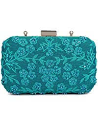 SVAZ Designer Delicate Hand Embroidery, Thread Work Clutches For Women And Girls - B07GTG22G1