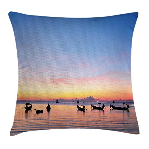 Fishing Decor Throw Pillow Cushion Cover, Sunset on Sea with Silhouette Ships at Suratthani Asian Bay Relaxation, Decorative Square Accent Pillow Case, 18 X18 Inches, Blue Yellow Coral (Green Bay Transfer)