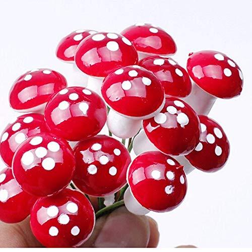 Stück Mini-Pilz, Rot, gepunktet, für den Garten, Heimwerker-Spielzeug, Landschaft, Bonsai-Pflanze, Gartendekoration ()