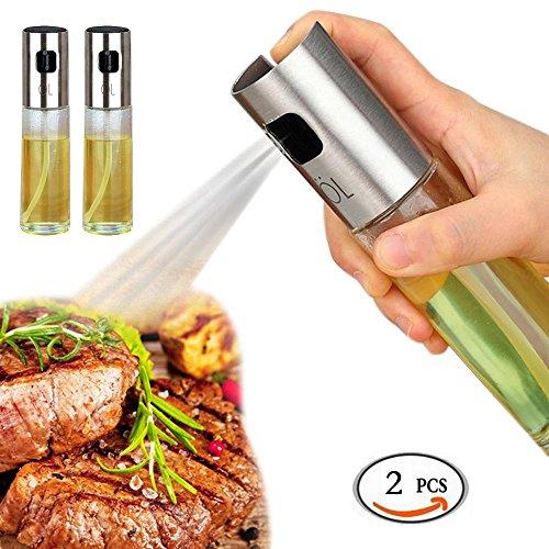 L'Huile D'OLIVE et vinaigre distributeur de pulvérisateurs Pompe de Lot de bouteilles en verre (2pièces) pour cuisson de cuisine, cuisson, griller