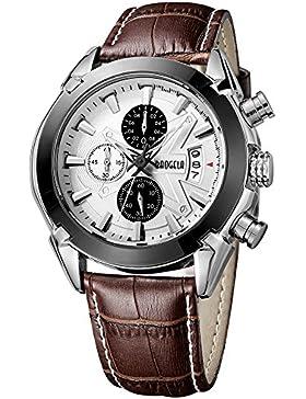 megir Herren Military Uhren braun Casual Lederband Chronograph Datum Quarz Armbanduhr