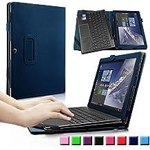Lenovo MIIX 310 10.1-Inch Funda Case, Infiland Folio PU Cuero Cascara Delgada con Soporte para Lenovo MIIX 310 10.1-Inch Tablet(con Auto Reposo / Activación Función), Azul Oscuro