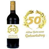 SHIRT-TO-GO Flaschenetikett zum 50. Geburtstag für Wein und Sektflaschen als Geschenkidee zum 50. Geburtstag