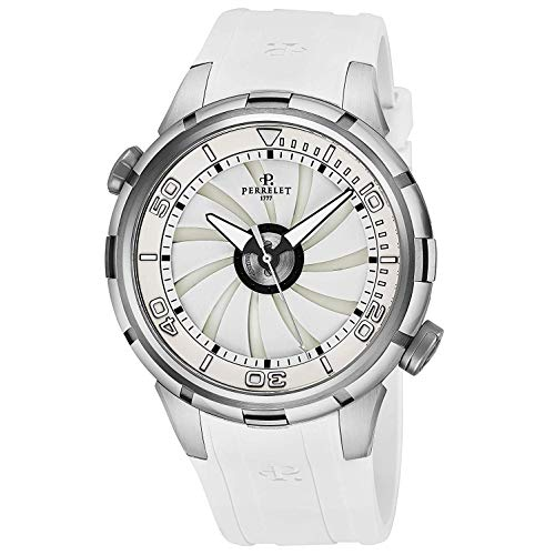 Perrelet Men's 47mm White Rubber Band Steel Case Automatic Watch A1066-2