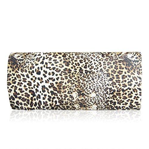 FZHLY Fashion Handtaschen Leopard Clutch Bag Tan