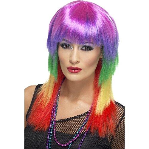 Regenbogen-Rocker Perücke, Mehrfarbig