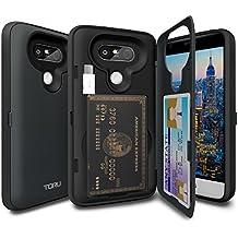 Coque LG G5 [TORU CX Pro] Coque portefeuille, Etui porte carte de crédit pratique original, de qualité, discret, double housse de protection souple et rigide, antichoc, avec miroir [Fonction Stand] [Auto-support Paysage] [Coleur] pour LG G5 - Bleu Foncé