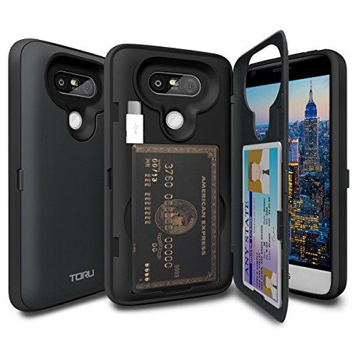 LG G5 Hülle [TORU CX Pro] [Farbe] [Portemonnaie] [Schutzung] Handyhülle mit verstecktes Kartenfach, Spiegel und Ständer - Schiefergrau