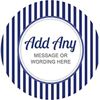 Stripes Blue Sticker Labels Personalised Seals Ideal for Party Bags, Sweet Cones, Favours, Jars, Presentations Gift Boxes, Bottles, Crafts