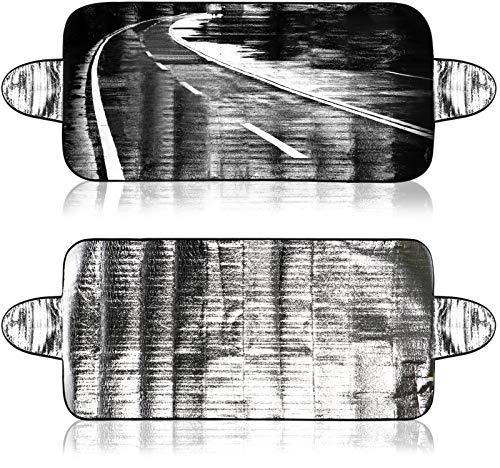 com-four® 2X Abdeckung für die Frontscheibe im Winter, Auto Frostabdeckung für die Windschutzscheibe auch gegen UV-Strahlung, Sonne, Staub, EIS, Frost und Schnee (02 Stück - 150x70 Alu+Logo)