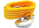 #4: Tiny Deal 4M Long Super Strong Emergency Heavy Duty Car Tow Cable 3 Ton Towing Strap Rope With Dual Forged Hooks - Yellow Rep-228256
