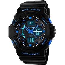 SunJas Reloj Deportivo Impermeable con Pantalla Luminosa Multifunciones, resistente al Agua 30m, con Luz de LED, Azul