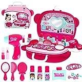 Kinderschminkset Schminkkoffer Kinderschminke für Kinder Schminksachen Mädchenkoffer für Kinder Mädchen Schönes Schminkset mit vielen Zubehör Pretend Makeup kit