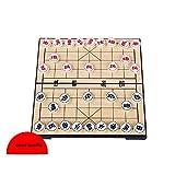 FunnyGoo Chinesisches Schach-Set Xiangqi mit zusammenklappbarem Kasten-Schachbrett, Schachgröße: 2.36CM Durchmesser