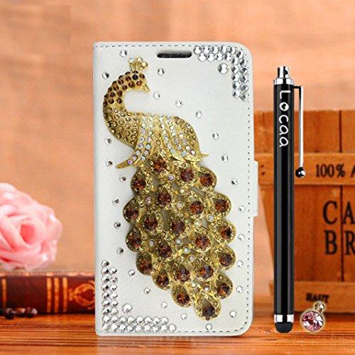 Locaa(TM) Pour Apple IPhone 7 Plus IPhone7+ (5.5 inch) 3D Bling Paon Case Coque Fait filles Cuir Qualité Housse Chocs Étui Couverture Protection Cover Shell Romantique [Paon 2] Rose - Paon Perle Blanc - Paon Champagne