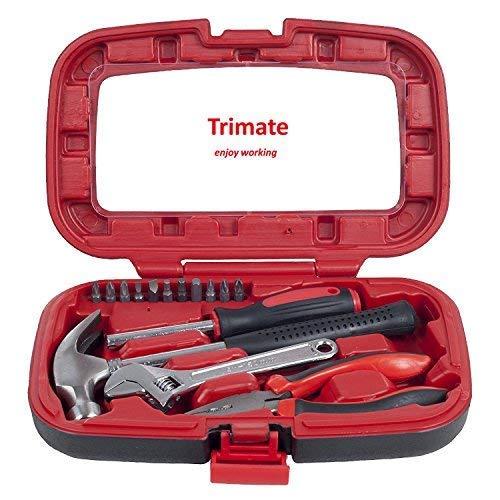 Haushalt Werkzeug Set, von Trimate, 15-teilig, Set beinhaltet - Hammer, Schraubenschlüssel, Zange (Werkzeug für Zuhause, Büro oder Auto) (Rot)