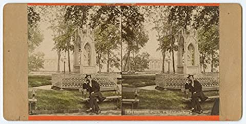 POSTER Fairmount Park Philadelphia View Frederick Graff's Monument at Water Works late nineteenth-century man sits on bench front