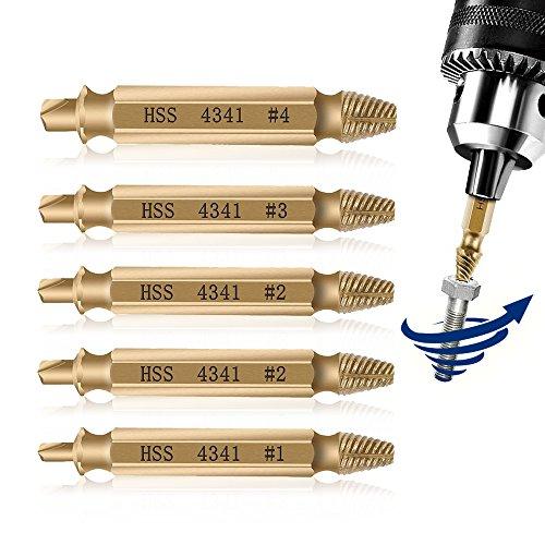 NebulAcc 5 tlg. Doppelseitiges Schraubenausdreher Set Schrauben Entferner Beschädigte Schraubenzieher zum entfernen Kaputter Schrauben oder Bolzen, Hergestellt aus H.S.S. 4341 #, Härtegrad: 62-63HRC