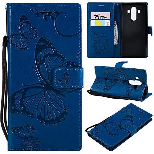 BoxTii® Coque Huawei Mate 10 Pro avec [Gratuit Protection D'écran en Verre Trempé], Etui en Cuir de Première Qualité avec Les Fentes de Carte et Stand pour Huawei Mate 10 Pro (#4 Bleu)