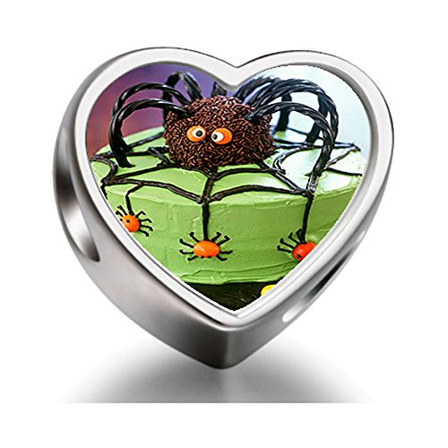 Halloween spider cake Heart Sterling Silver Charm Beads Biagi beads European Charms Bracelets (Halloween Spider Cake)