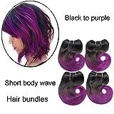 6 PCS Bob Short Weaves Cheveux Humains 7 pouces Corps Vague Brésilienne Vierge Extension de Trame, 25g / pc (# 1B-Violet)
