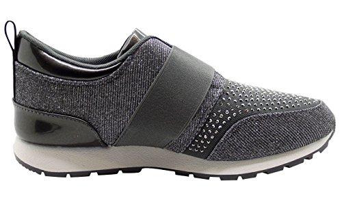 New Ladie Low cheville Diamante Pompes Femmes Glitter Chaussures Plimsols Baskets Bottes Dark Grey