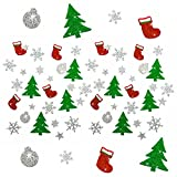 Oblique-Unique Weihnachts Sticker - Glitzer Sticker Bunt - Weinachten Tannenbaum Stiefel Schneeflocke Stern Weinachtskugeln