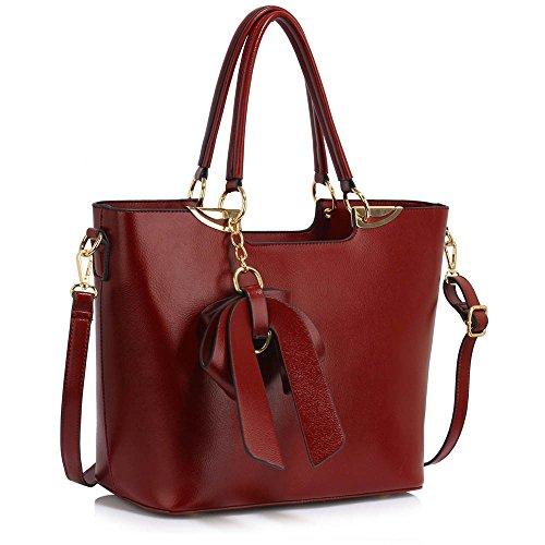 TrendStar Neuen Frauen Entwerfer Sackt Damen Mode Handtaschen-Taschenpatentschulterkunstleder Promi-Stil (A - Burgund) (Handtasche Faux Croc)