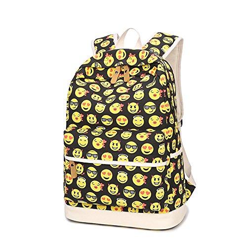 Eule Gedruckt Lässige Leinwand Rucksack Schulranzen Schultertasche Laptop Tasche Rucksack Bleistift Tasche für Jugendlich Junge Mädchen Emoji Set