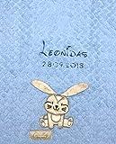 Babydecke bestickt mit Name und Geburtsdatum/kuschelig weich / 1A Qualität (Hellblau - HASE (extra Flausch))