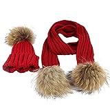 UJUNAOR 2018 Baby Mütze Haar Ball Schal Jungen Mädchen Kleinkinder Schal Hüte Set Unisex Winter Warm Beanie Mützen(Rot)