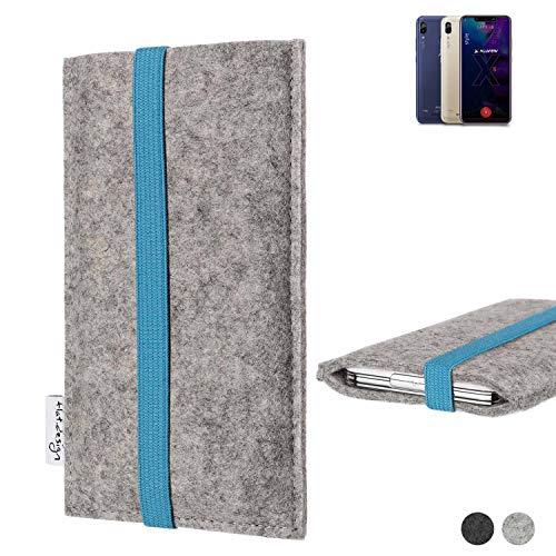 flat.design Handy Hülle Coimbra für Allview Soul X5 Style - Schutz Case Tasche Filz Made in Germany hellgrau türkis