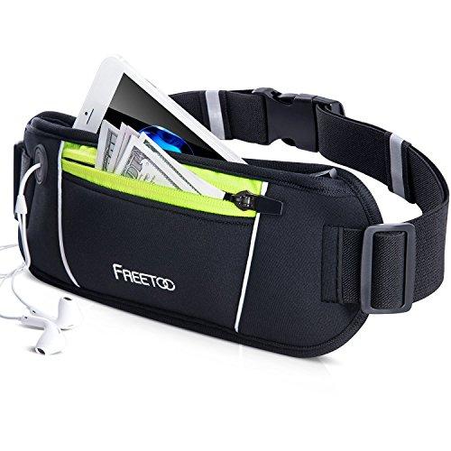 FREETOO Running Belt Waistpack Sweatproof Bumbag Fits for iPhone 7 Plus Samsung S7 Edge with Headphone Hole