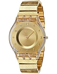 Swatch Women's 30mm Gold-Tone Steel Bracelet Plastic Case Quartz Analog Watch SFK355G