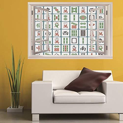Leoljc Mahjong 3D Gefälschte Fenster Schlafzimmer Wohnzimmer Studie Hintergrund Dekoration Pvc Wandaufkleber Diy Abnehmbare (50X70 Cm)