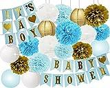 Baby-Dusche-Dekorationen für Jungen BABY-DUSCHE Es ist ein Junge Bunting Banner Seidenpapier Pom Poms Papier Waben Balls Papierlaternen Blau / Weiß / Gold Baby Boy Baby Shower Party Dekorationen