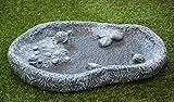 Vogeltränke mit Schildkröten Schiefergrau, Frostsicher, Vogelbad, Stein, Garten