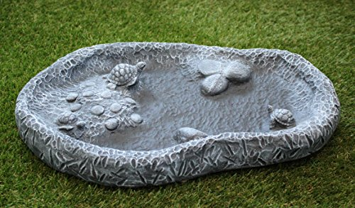 Tiefes Kunsthandwerk Vogeltränke mit Schildkröten Schiefergrau, Frostsicher Vogelbad Stein Garten