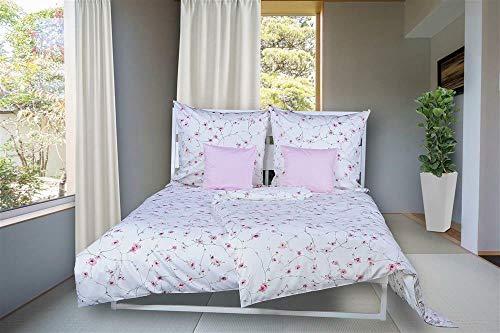 momm Bettwäsche Aida I Größe 135x200 80x80 cm I Farbe Weiß Rosa I Reine Baumwolle