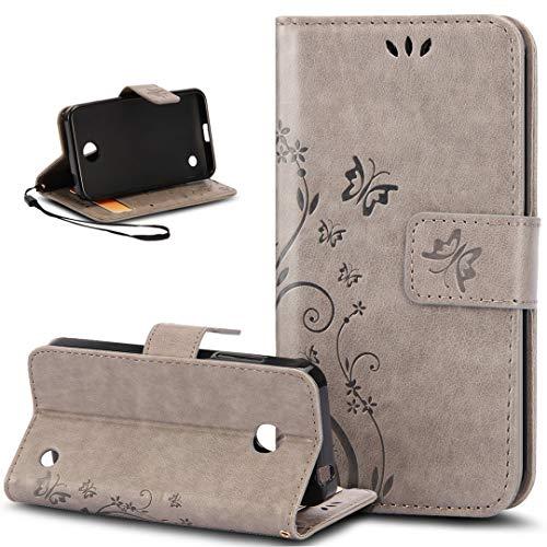 Nokia Lumia 635 Hülle,Nokia Lumia 630 Hülle,Malerei Schmetterling Muster PU Lederhülle Flip Hülle Cover Schale Ständer Etui Karten Slot Wallet Tasche Case Schutzhülle für Nokia Lumia 630/635,Grau