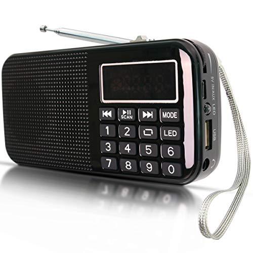 Radio FM SD USB MP3 PORTÁTIL Recargable PRUNUS con BATERÍA DE Gran Capacidad (3000mAh, reproducciones largas 30 Horas) con Linterna de Emergencia, Memoriza emisoras automáticamente(Sin Manual)