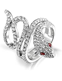 Bling Jewelry Twisted Snake Ring simulierten Granat Crystal Rhodiniert