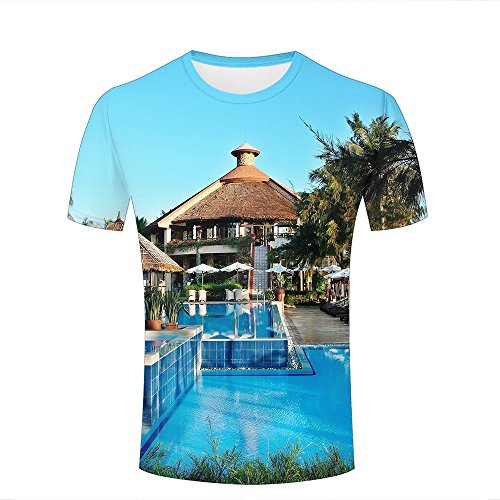 WEIYI BO Men T-Shirt 3D Digital Pinted exoticholiday Resort Villa Crewneck Casual Tee Shirt Tops B