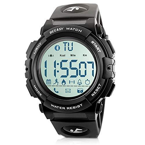 Beeasy Orologio Uomo Digitale Orologio Fitness 50M Impermeabili Smartwatch Sportivo Militare Orologio Bluetooth Contacalorie Contapassi Cronometro