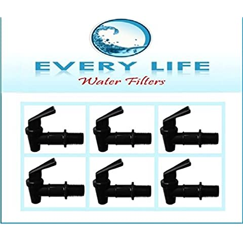 Black Plastic Faucet 6-pack, 3/4 Inch, Spigots, Water Filter Bucket, Water Crock Tap, Replacement Beverage Dispenser Tap with Washers and Nut by Every Life Water Filters - Water Crock