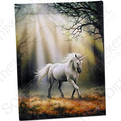 Glimpse Unicorn - A Gothic Unicorn in Dappled Light Walking in a Forest - Fantastic Design by Artist Anne Stokes - Canvas Picture on Frame Wall Plaque / Wall Art - cheap UK canvas shop.