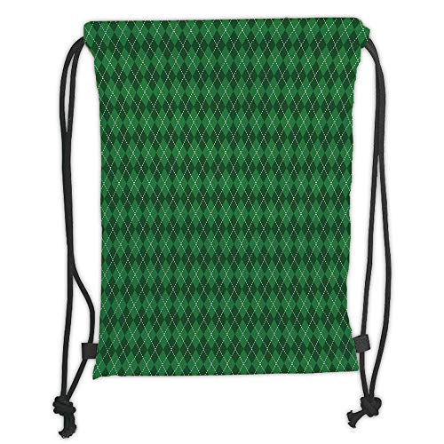 Trsdshorts Irish,St. Patricks Day Celebration Inspired Vintage Pattern Argyle Tartan Dots Decorative,Green Dark Green White Soft Satin,5 Liter Capacity,Adjustable St Argyle Apple