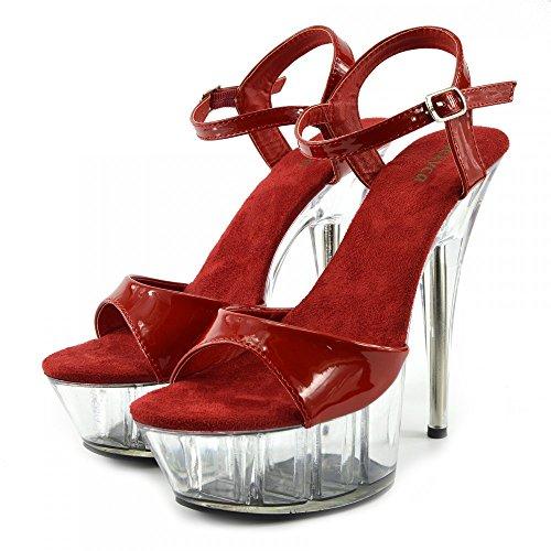 Kick Footwear - Donna Charmaine Chiaro Perspex Tacchi Alti Della Piattaforma Pole Dancing Scarpe Rosso